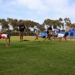 Post race competition: wheelbarrow racing