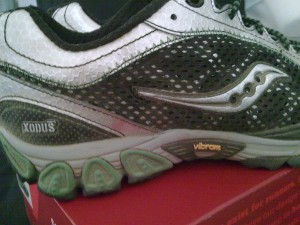 Saucony ProGrid Xodus Trail Running Shoe with Vibram Outsole closeup.
